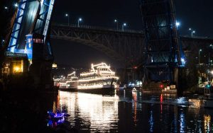 Parade of Boats Arrive to Fremont Cut
