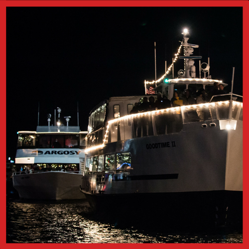 Cruise on an Argosy Follow Boat and enjoy views of the Christmas Ship™ and other boats as you follow her to each performance site.
