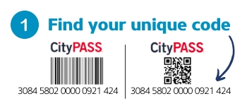Infograph showing where to find unique CityPASS code on CityPASS ticket
