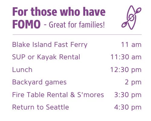 Sample itinerary for Blake Island Activities