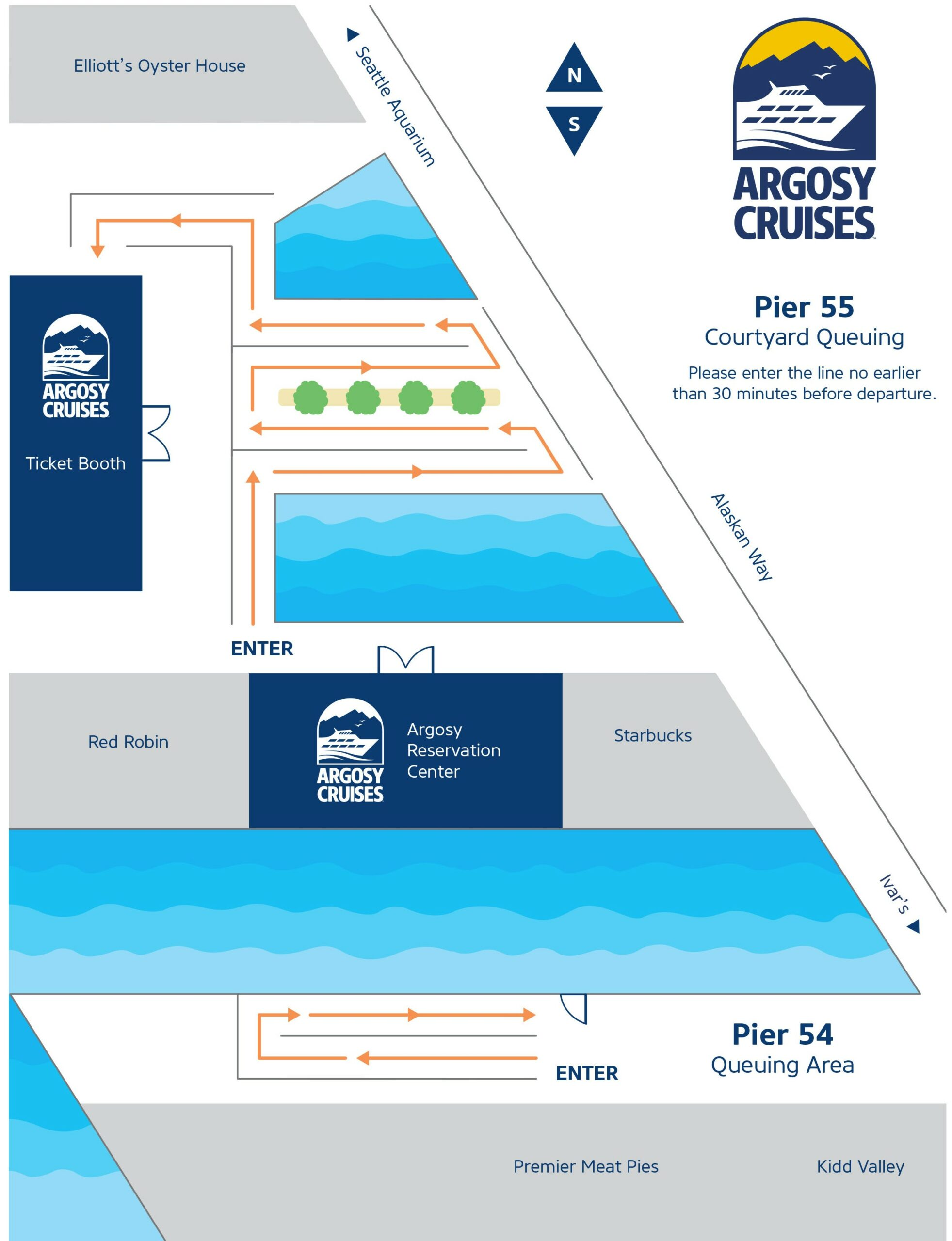 Map showing boarding area on Pier 55 and Pier 54