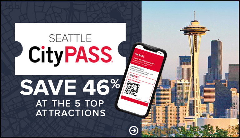 Graphic showing CityPASS tickets, mobile disply, and Seattle skyline in background